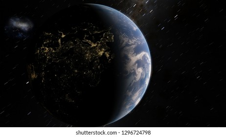 Exoplanet 3D illustrationPlanet Earth blue against the background of the galaxy and the black starry sky (Elements of this image furnished by NASA)