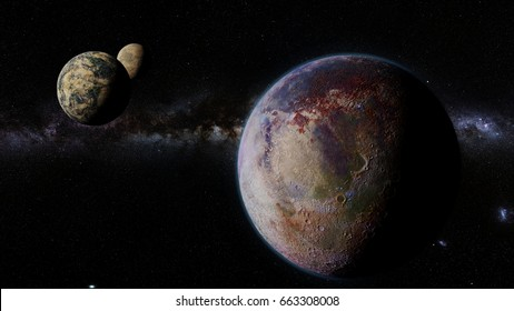exoplanet, exomoons and the Milky Way galaxy (3d render, elements of this image are furnished by NASA)