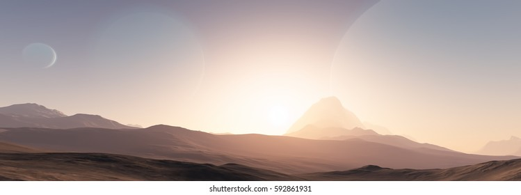 Exoplanet fantastic landscape. Beautiful views of the mountains and sky with unexplored planets. 3D illustration.