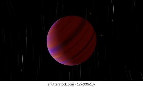 Exoplanet gas giant hot Jupiter or brown dwarf 3D illustration (Elements of this image furnished by NASA)