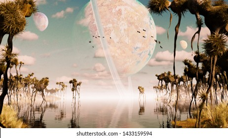 exoplanet landscape, alien world with strange plants and flying creatures (3d space rendering)