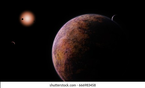 exoplanets orbiting a red dwarf star (3d illustration, elements of this image are furnished by NASA)