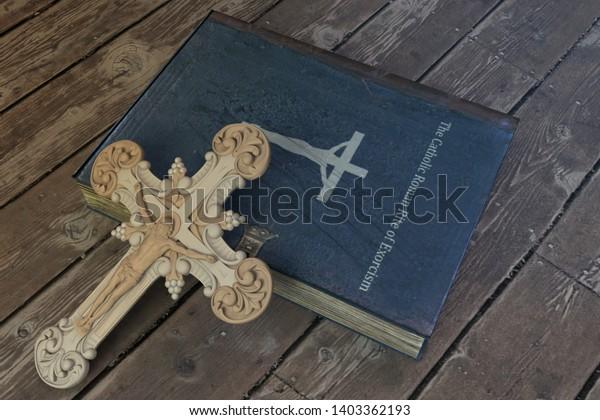 exorcism book on wooden floor 3d illustration