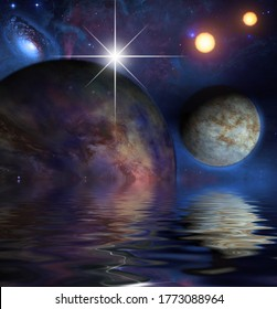 Exosolar Planets Rise over quiet waters. 3D rendering