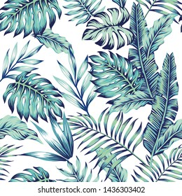 Exotic abstract illustration blue jungle seamless pattern on the white background. Trendy art beach print wallpaper