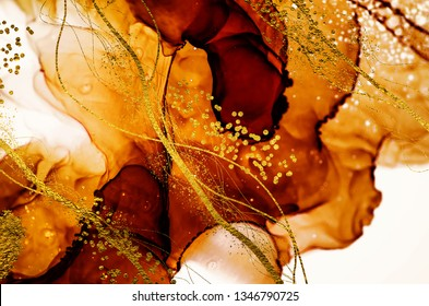 Exotic ART. Golden swirl, artistic design. Painter uses vibrant paints to create these magic art, with addition golden glitters, lines. High quality abstraction. Masterpiece of designing art.
