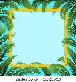 Exotic Background, Green Tropical Palm Tree Leaves and Yellow Frame on Blue Sky.