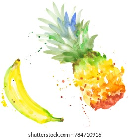 b79b04db875 Exotic banana and pineapple healthy food in a watercolor style isolated.  Full name of the
