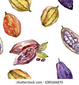 Exotic baobab healthy food in a watercolor style pattern. Full name of the fruit: baobab. Aquarelle wild fruit for background, texture, wrapper pattern or menu.