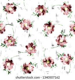 Exotic batik flowers pattern, jungle print design. Pattern for summer designs. Fashion trended botanical white background. Vibrant Hi Quality botanical artwork.