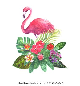 Exotic bouquet with pink flamingo, green tropical leaves, branches and bright flowers isolated on white background. Watercolor hand drawn botanical illustration for wedding invitations, greeting cards
