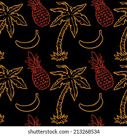 Exotic caribbean seamless pattern with silhouettes tropical coconut palm trees, pineapples and bananas. Endless print repeating background texture. Wallpaper - raster version