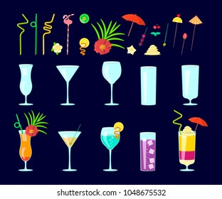 Exotic cocktail drink creator. Set of different shapes coctail glass and straws, parasols, umbrellas, toothpick for party decoration. Rastered copy