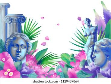 Exotic design with Venus de Milo sculpture, ancient column and tropical flowers. Digitally painted art in gouache technique