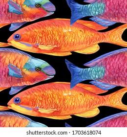 Exotic fish (tropical fish). Repeating seamless pattern. Watercolor painting fish, ocean, sea.