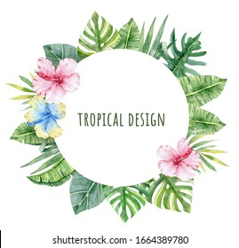 Exotic floral frame with green leaves and flowers. Pink Hibiscus, blue Hibiscus. Watercolor tropical florals.