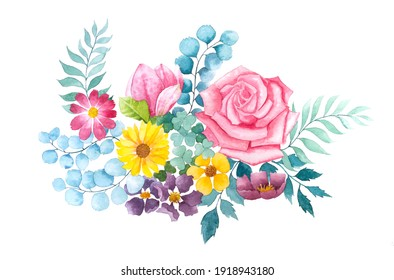exotic flowers, bunch of blossoming flowers. Watercolor illustration