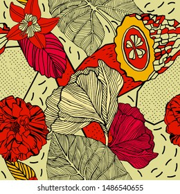 Exotic flowers and fruits, pattern design.