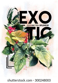 Exotic flowers graphic print with text on it.