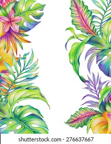 exotic foliage, tropical nature, abstract flowers and leaves, watercolor illustration isolated on white background
