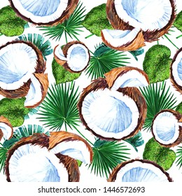 Exotic fruit coconut banana wild fruit in watercolor style. Full name of the fruit: coconut. Watercolor wild fruit for background, texture, shell pattern or menu.