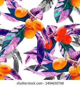 Exotic fruits colorful watercolor on white background seamless pattern for all prints on hand painting style.