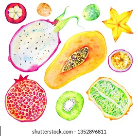 Exotic fruits. Papaya, pomegranate, kiwi, pitahaya, passion fruit, carambola, mangosteen. Hand drawn watercolor set isolated on white background
