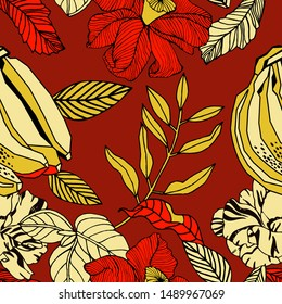 Exotic fruits and plants, seamless pattern design.