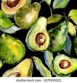 Exotic green avocado wild fruit in a watercolor style pattern. Full name of the fruit: avocado. Aquarelle wild fruit for background, texture, wrapper pattern or menu.