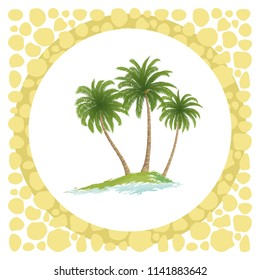 Exotic Landscape, Sea Island with Green Tropical Palm Trees and Circle Frame.