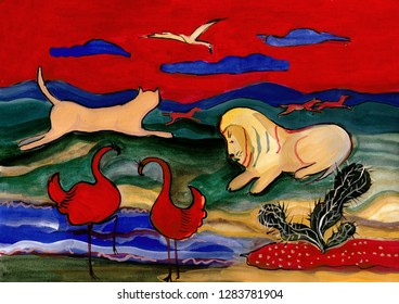exotic landscape with wild animals, Africa in evening