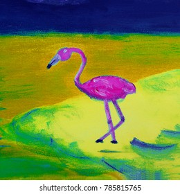 exotic naive ornamental landscape with flamingo oil on canvas, illustration