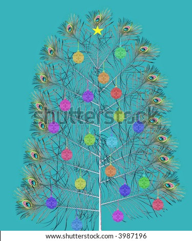 exotic peacock christmas tree with decorations