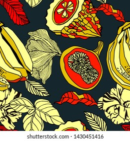 Exotic plants and fruits, seamless pattern.