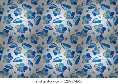 Exotic raster seamless pattern floral design. Textile print for bed linen, jacket, package design, fabric and fashion concepts. White and blue hibiscus pattern. Watercolor floral seamless pattern.