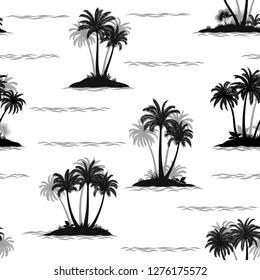 Exotic Seamless Pattern, Tropical Ocean Landscape, Islands with Palms Tree and Waves, Black and Grey Silhouettes Isolated on Tile White Background.