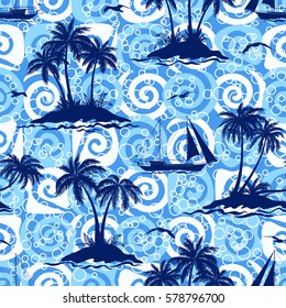Exotic Seamless Pattern, Tropical Ocean Landscape, Islands with Palms Trees, Ships Sailing and Birds Seagulls Silhouettes on Abstract Tile Background with Spirals and Rings.