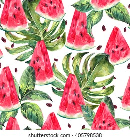 Exotic summer watercolor seamless pattern with tropical leaves, slices of watermelon pattern, natural illustration on white background