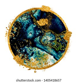 EXOTIC TROPICAL ART. Ink colors are amazingly bright, luminous, translucent, free-flowing, and dry quickly. Masterpiece of designing art. Abstract painting with golden swirls.