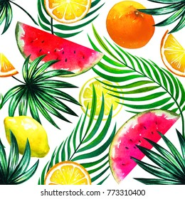 Exotic tropical mix of fruits. Watercolor floral natural print with pink watermelon slices and citrus fruits isolated on white. Lemon, orange, palm leaves. Hawaii beach pattern
