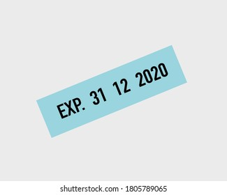 EXP.31/12/2020.letters on a light blue background that mean expires on 31 December 2020.Goal word in business concept. lettering design illustration.