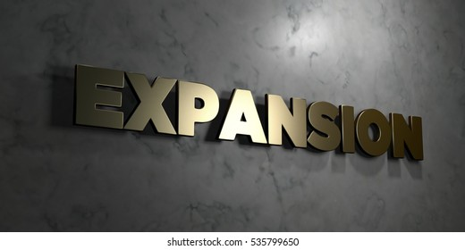 Expansion - Gold sign mounted on glossy marble wall  - 3D rendered royalty free stock illustration. This image can be used for an online website banner ad or a print postcard.
