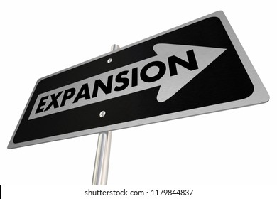 Expansion Growth Increase Add More Arrow Road Sign 3d Illustration