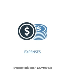 Expenses concept 2 colored icon. Simple blue element illustration. Expenses concept symbol design from accounting set. Can be used for web and mobile UI/UX