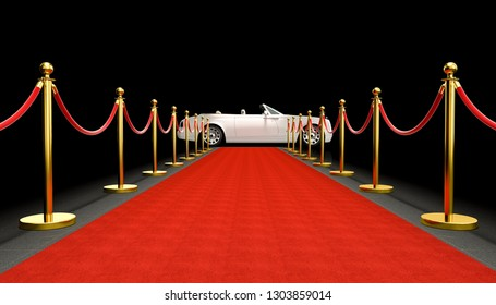 expensive car and red carpet 3d rendering image