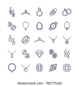 Expensive gold jewelry with diamond line icons and wedding accessories symbols. Expensive fashion diamond and gem illustration