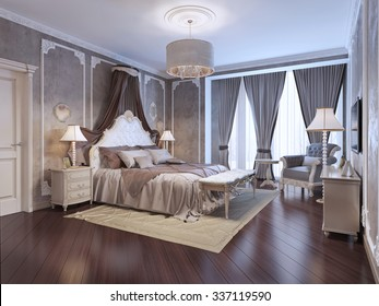 Expensive interior of bohemian bedroom. Luxury bedchamber, textured wall with molding, mahogany parquet flooring. 3D render