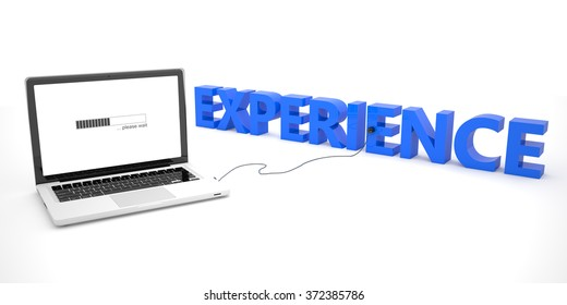 Experience - laptop notebook computer connected to a word on white background. 3d render illustration.