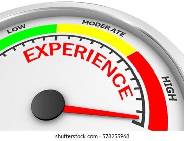 experience level to maximum conceptual meter, 3d rendering