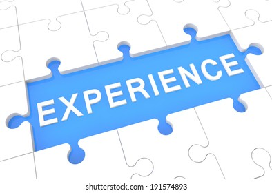 Experience - puzzle 3d render illustration with word on blue background